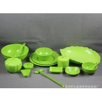 彩色塑料盘子 圆形碟子密胺菜盘 酒店仿瓷餐具 碗盘碟