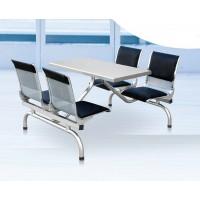 不锈钢餐桌椅食堂6人学校餐厅连体快餐桌椅组合员工餐桌定制批发