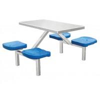 快餐店连体桌椅 学校食堂连体桌椅 员工四人位餐台椅