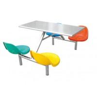食堂快餐桌椅组合奶茶咖啡厅桌椅饭店小吃店不锈钢桌椅组合批发