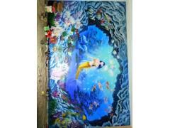 临沂墙绘公司展厅培训机构天花天顶蓝天白云墙绘壁画儿童馆夜光画